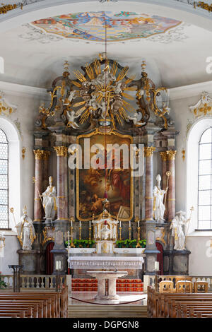 Altar with figures of the Church Fathers Ambrose, Gregory, Augustine and Jerome, by Anton Sturm, Parish Church of - Stock Photo