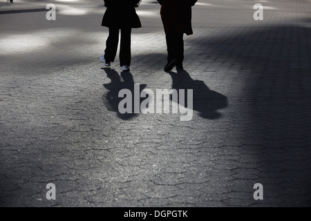 USA, New York State, New York City, Peoples walking on pedestrian - Stock Photo