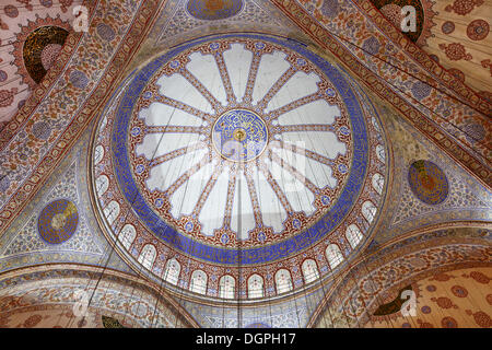Interior view, main dome, Blue Mosque, Sultan Ahmed Mosque or Sultanahmet Camii, Istanbul, European side, Istanbul - Stock Photo
