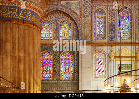 Interior view, Blue Mosque, Sultan Ahmed Mosque or Sultanahmet Camii, Istanbul, European side, Istanbul Province, - Stock Photo