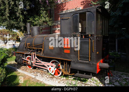 German steam locomotive, memorial in front of the Istanbul Sirkeci Terminal or İstanbul Terminal - Stock Photo
