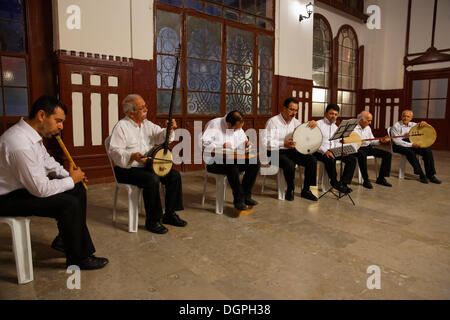 Sufi music concert in Sirkeci Railway Station, Istanbul, Turkey, Europe, Istanbul, Istanbul Province, Turkey - Stock Photo