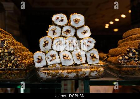 Turkish honey, halva, Hafiz Mustafa store, Istanbul, Turkey, Europe, Istanbul, Istanbul Province, Turkey - Stock Photo