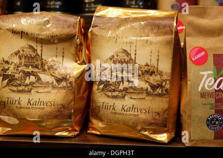 Turkish coffee, Hafiz Mustafa store, Istanbul, Turkey, Europe, Istanbul, Istanbul Province, Turkey - Stock Photo