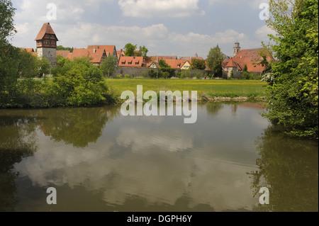 ancient city Dinkelsbuehl in Bavaria - Stock Photo