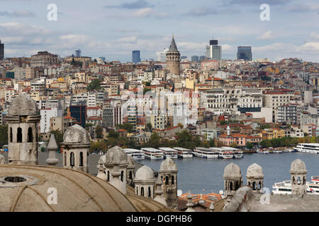 View from the Süleymaniye Mosque across the Golden Horn to Beyoğlu with the Galata Tower, Istanbul, European side - Stock Photo