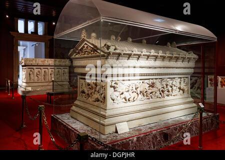 Alexander Sarcophagus, Istanbul Archaeology Museum, Sarayburnu, Istanbul, European side, Istanbul Province, Turkey - Stock Photo