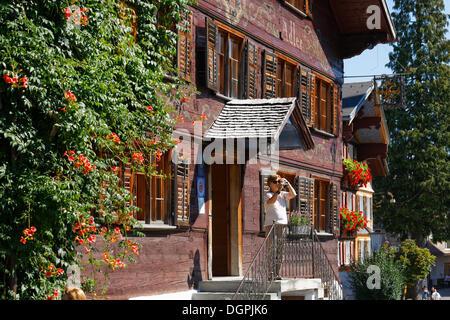 Hotel Adler, Bregenzerwald house, Schwarzenberg, Bregenzerwald, Bregenzer Wald, Vorarlberg, Austria - Stock Photo