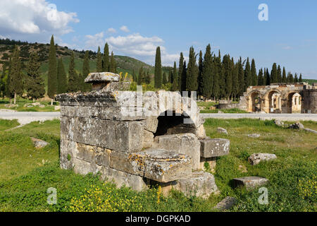 Grave, necropolis, ancient city of Hierapolis, Hierapolis, near Pamukkale, Denizli Province, Aegean Region, Turkey - Stock Photo