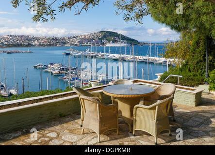 View from terrace of the Kismet Hotel of the marina of Kusadasi, Kuşadası, Aydin province, Aegean region, Turkey - Stock Photo