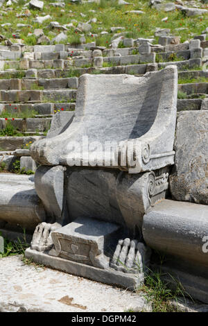 Seat of honour in the Theatre of Priene, Priene, Güllübahçe, Aydin province, Aegean region, Turkey - Stock Photo