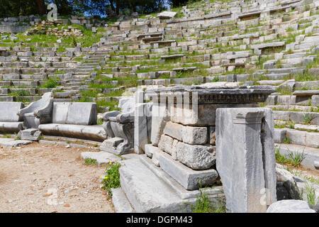 Altar of Dionysus in the Theatre of Priene, Priene, Güllübahçe, Aydin province, Aegean region, Turkey - Stock Photo