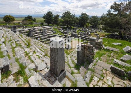 Ruins of the Bouleuterion, Priene, Güllübahçe, Aydin province, Aegean region, Turkey - Stock Photo