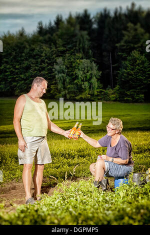 Man and woman taking a bread during their work on a field - Stock Photo