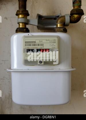 Old gas meter,Paris,France - Stock Photo