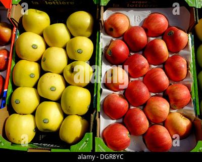 Apple,greengrocer rue Mouffetard,Paris,France - Stock Photo
