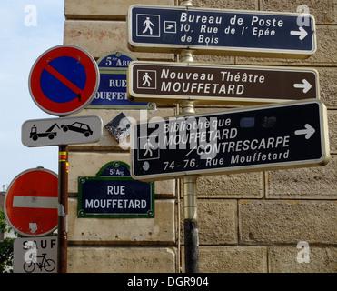 Road sign, Rue Mouffetard,Paris, France - Stock Photo