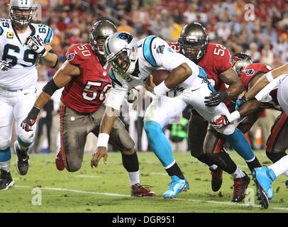 Tampa, Florida, USA. 24th Oct, 2013. BRENDAN FITTERER | Times.Carolina Panthers quarterback Cam Newton (1) scrambles - Stock Photo
