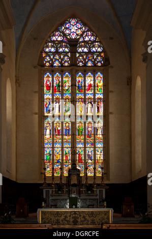 Stained Glass Window in Basilica San Domenico, Perugia, Umbria, Italy - Stock Photo