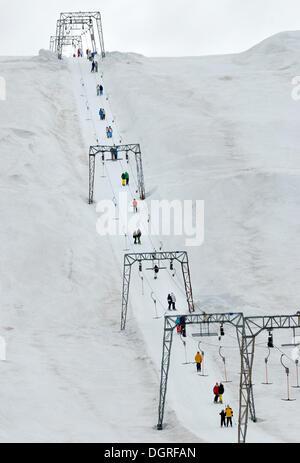 Ski lift in the Folgefonn summer ski center AS, Folgefonna glacier, Norway, Europe - Stock Photo