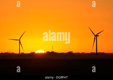 Nuclear dawn, wind power plant and transmission line in front of a sunrise, Eiderstedt, Schleswig-Holstein - Stock Photo