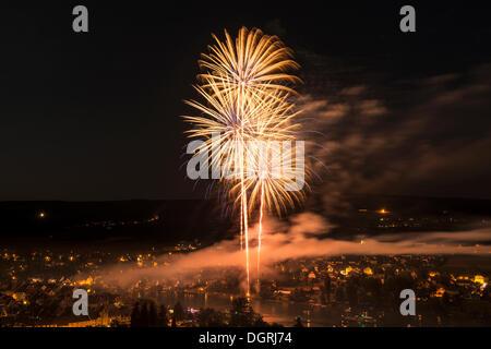 Fireworks over Stein am Rhein, Swiss National Day on 1st August, canton of Schaffhausen, Switzerland, Europe - Stock Photo