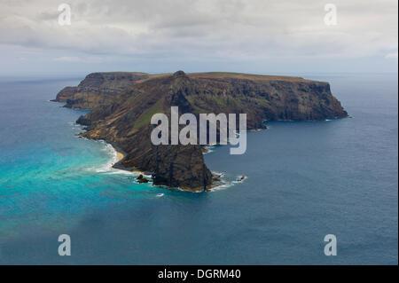 Ilhéu da Cal, or Ilhéu de Baixo, uninhabited island off Porto Santo, Madeira, Portugal, Europe - Stock Photo