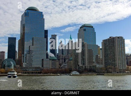 New York skyline with Three World Financial Center, Tribeca, West Street, Lower Manhatten, Manhatten, New York, - Stock Photo