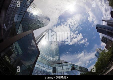 Deutsche Bank headquarters, Frankfurt skyline, Frankfurt am Main, Hesse - Stock Photo