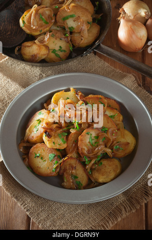 Lyonnaise Potatoes Pommes Lyonnaise Fried Potatoes With Onions Stock Photo