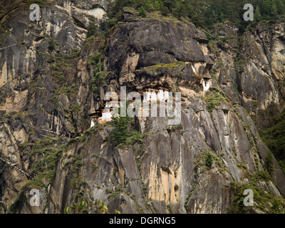 Bhutan, Paro valley, Taktsang Lhakang (Tiger's Nest) monastery clinging to cliffside