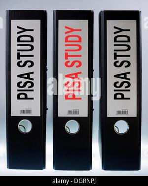 Three file folders labeled 'PISA Study' - Stock Photo