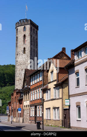 Ferry Gates Tower on the edge of the historic town centre, Hannoversch Münden, Lower Saxony, Germany - Stock Photo