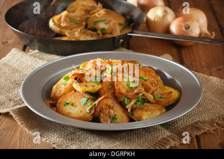 Fried Potatoes With Onions Stock Photo