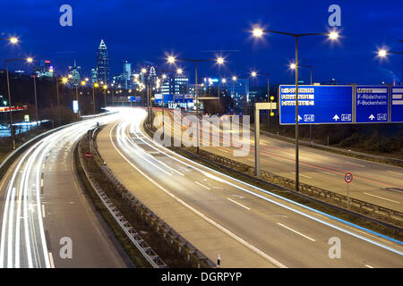 View of Frankfurt from the A 661 highway, in the back the trade fair tower, and the Frankfurt Messe, Frankfurt, - Stock Photo
