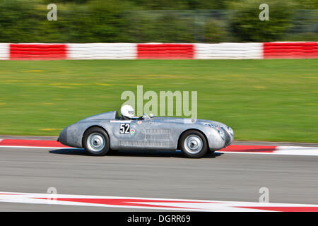 Race of post-war racing cars at the Oldtimer Grand Prix 2010 on the Nurburgring race track, Rhineland-Palatinate - Stock Photo