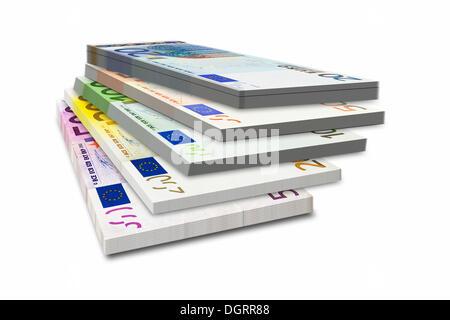 Mixed bundle of bank notes, 500, 200, 100, 50, 20 euro - Stock Photo