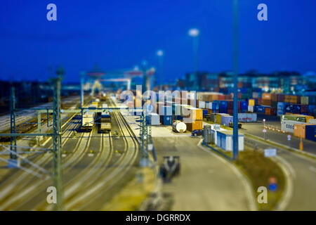 View on a container terminal, miniature view, tilt-shift effect, reduced depth of field, Frankfurt am Main, Hesse - Stock Photo
