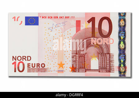 Symbolic icon, disintegration of the euro and the introduction of the new northern euro currency, 10 Nord-Euro - Stock Photo