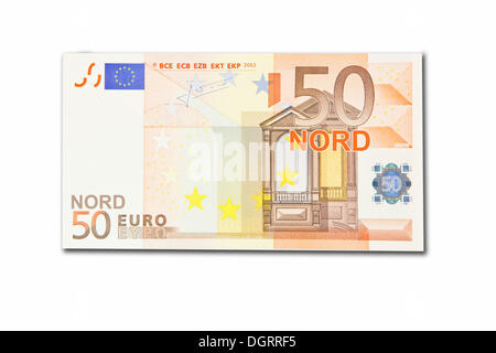 Symbolic icon, disintegration of the euro and the introduction of the new northern euro currency, 50 Nord-Euro - Stock Photo