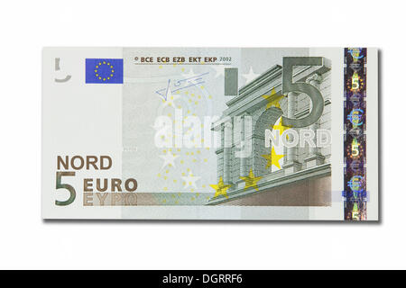Symbolic icon, disintegration of the euro and the introduction of the new northern euro currency, 5 Nord-Euro - Stock Photo