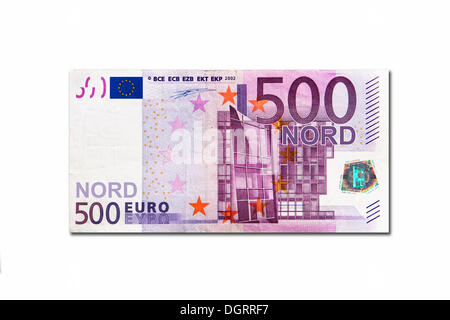 Symbolic icon, disintegration of the euro and the introduction of the new northern euro currency, 500 Nord-Euro - Stock Photo