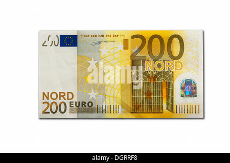 Symbolic icon, disintegration of the euro and the introduction of the new northern euro currency, 200 Nord-Euro - Stock Photo