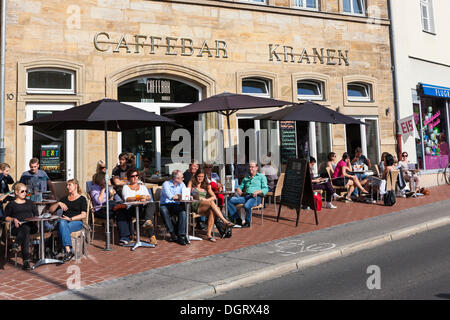 Tourists enjoying the sun in an outdoor cafe, Bamberg, Upper Franconia, Franconia, Bavaria, PublicGround