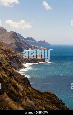 Cliff coast, Agaete, Gran Canaria, Kanarische Inseln, El Risco, Spain - Stock Photo