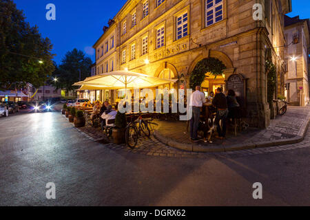 Restaurants with outdoor dining in the historic old town of Bamberg, Bamberg, Bavaria, Germany - Stock Photo