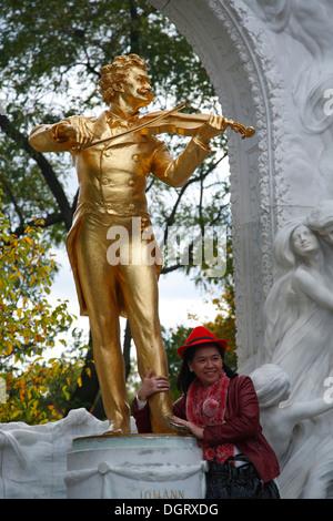 Johann Strauss Statue, Stadtpark, Vienna, Austria, Europe - Stock Photo