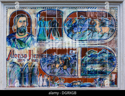 Image made from tiles, part of the alley of tile images in the Jardim Botânico da Madeira or Botanical Garden, on - Stock Photo