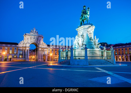 View on the Commerce Square and statue of King Joze I in evening illumination, Lisbon, Portugal. - Stock Photo