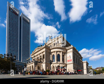Opernplatz square and Alte Oper, Old Opera House, in front of OpernTurm by Tishman Speyer Property with UBS Bank - Stock Photo